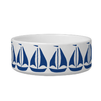 Nautical Blue Sailboat preppy personalized Cat Water Bowl