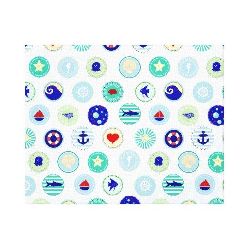 Nautical Blue Sailor Pattern Stretched Canvas Prints