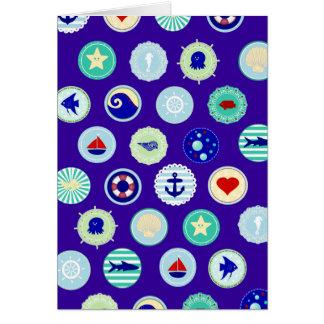 Nautical Blue Sailor Pattern Greeting Cards
