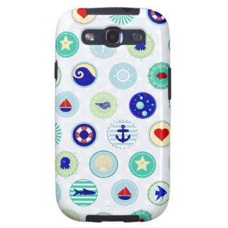 Nautical Blue Sailor Pattern Samsung Galaxy SIII Cover