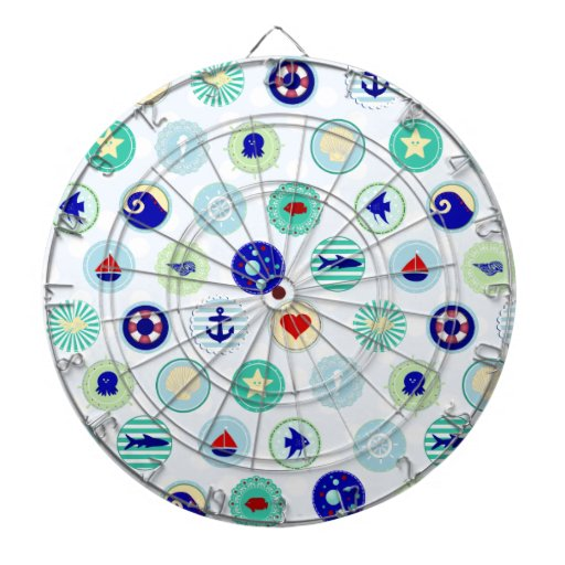 Nautical Blue Sailor Pattern Dartboards