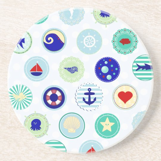 Nautical Blue Sailor Pattern Drink Coaster