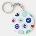Nautical Blue Sailor Pattern Key Chains