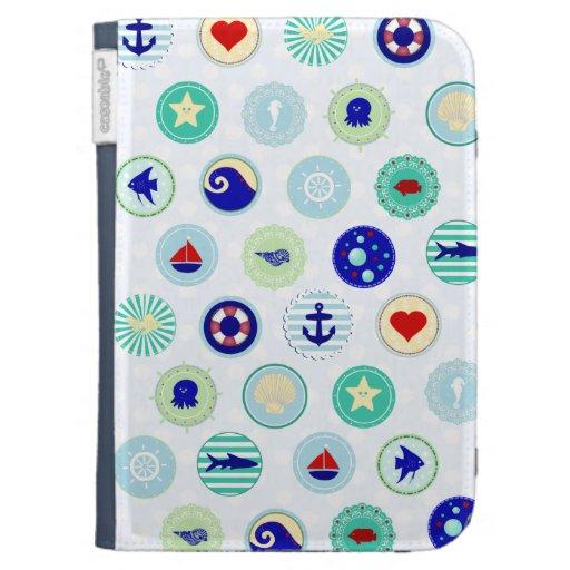 Nautical Blue Sailor Pattern Kindle Cover