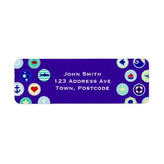 Nautical Blue Sailor Pattern Custom Return Address Label