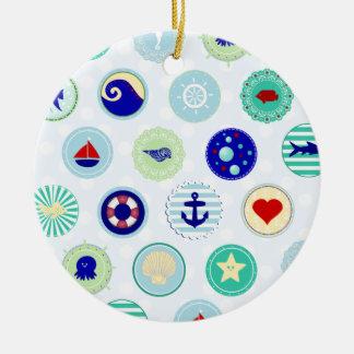Nautical Blue Sailor Pattern Ornaments