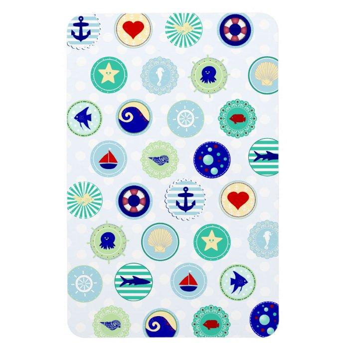 Nautical Blue Sailor Pattern Rectangular Photo Magnet