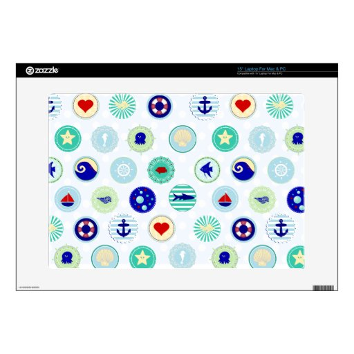 Nautical Blue Sailor Pattern Skins For Laptops