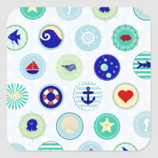 Nautical Blue Sailor Pattern Square Stickers