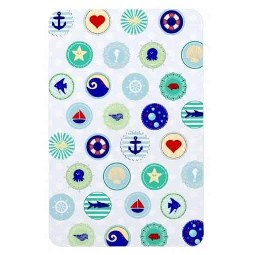 Nautical Blue Sailor Pattern Vinyl Magnets