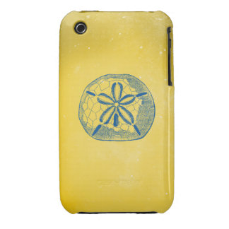 Nautical Blue Sand Dollar and Vintage Yellow iPhone 3 Cover