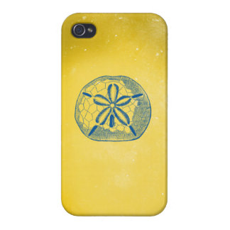 Nautical Blue Sand Dollar and Vintage Yellow iPhone 4/4S Cover