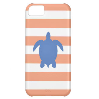 Nautical Blue Sea Turtle & Coral and White Stripes Cover For iPhone 5C