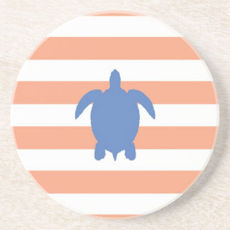 Nautical Blue Sea Turtle & Coral and White Stripes Drink Coaster