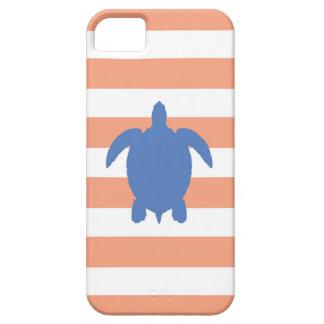 Nautical Blue Sea Turtle & Coral and White Stripes iPhone SE/5/5s Case