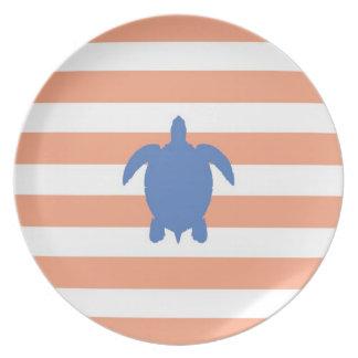 Nautical Blue Sea Turtle & Coral and White Stripes Melamine Plate