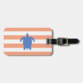 Nautical Blue Sea Turtle & Coral and White Stripes Tag For Luggage