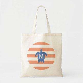 Nautical Blue Sea Turtle & Coral Stripes Monogram Canvas Bag