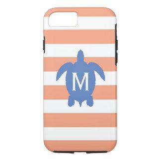 Nautical Blue Sea Turtle & Coral Stripes Monogram iPhone 7 Case