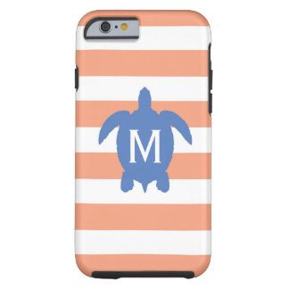 Nautical Blue Sea Turtle & Coral Stripes Monogram Tough iPhone 6 Case