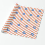 Nautical Blue Sea Turtle & Coral Stripes Monogram Gift Wrapping Paper