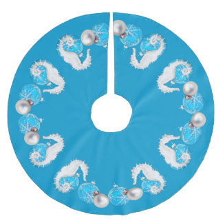 Nautical Blue Seahorses Brushed Polyester Tree Skirt