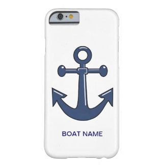 Nautical Blue Ship Anchor Custom Boat Name Barely There iPhone 6 Case
