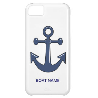 Nautical Blue Ship Anchor Custom Boat Name iPhone 5C Case