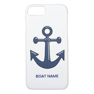 Nautical Blue Ship Anchor Custom Boat Name iPhone 8/7 Case
