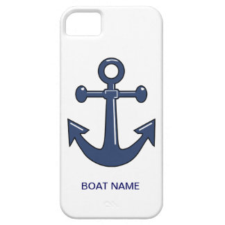 Nautical Blue Ship Anchor Custom Boat Name iPhone SE/5/5s Case