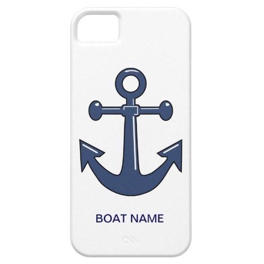 Nautical Blue Ship Anchor Custom Boat Name iPhone SE/5/5s Case