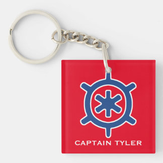 Nautical Blue Ship Captain's Helm Wheel Custom Keychain