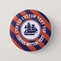 Nautical blue ship pinback button