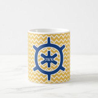 Nautical Blue Ship's Wheel Monogram and Chevron Coffee Mug