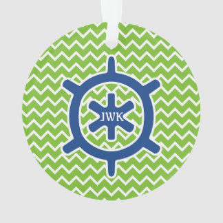 Nautical Blue Ship's Wheel Monogram and Chevron Ornament