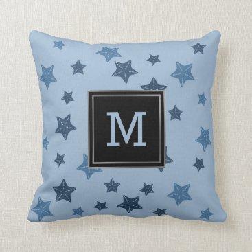 Beach Themed Nautical Blue Starfish Pattern Modern Monogram Throw Pillow