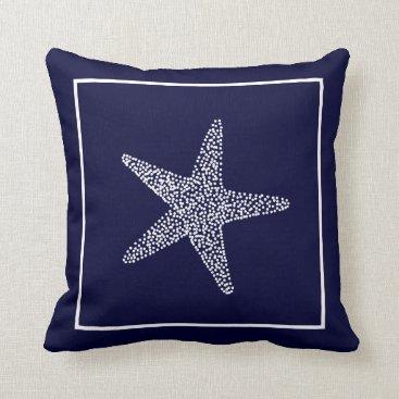 Beach Themed Nautical Blue Starfish Throw Pillow CBendel Design