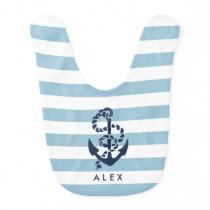 Nautical Blue Stripe Anchor Personalized Bib