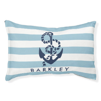 Nautical Blue Stripe Anchor Personalized Dog Bed