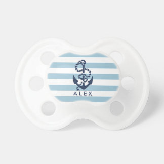Nautical Blue Stripe Anchor Personalized Pacifier