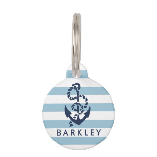Nautical Blue Stripe Anchor Personalized Pet Name Tag