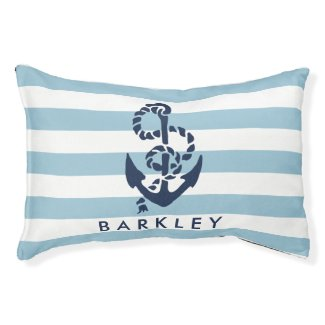 Nautical Blue Stripe Anchor Personalized Small Dog Bed
