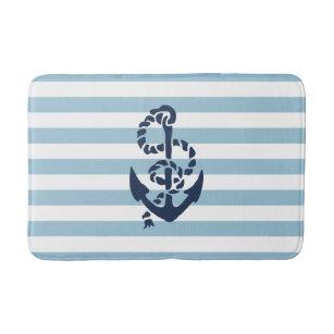 Nautical Blue Stripe Navy Anchor Bathroom Mat