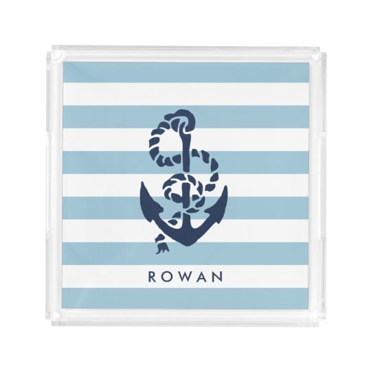 nautical blue stripe navy anchor personalized acrylic tray