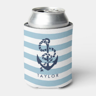 Nautical Blue Stripe & Navy Anchor Personalized Can Cooler