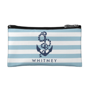 Nautical Blue Stripe & Navy Anchor Personalized Cosmetic Bag at Zazzle