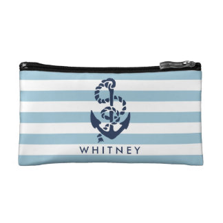 Nautical Blue Stripe & Navy Anchor Personalized Cosmetic Bag