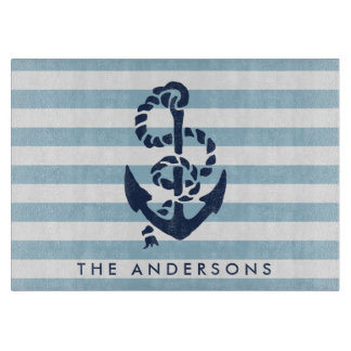Nautical Blue Stripe & Navy Anchor Personalized Cutting Board