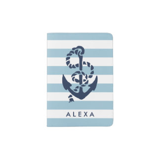 Nautical Blue Stripe & Navy Anchor Personalized Passport Holder