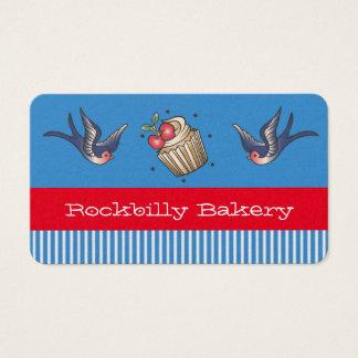 Nautical Blue stripe Tattoo rockabilly bakery Business Card
